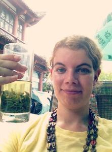 A sweaty mess drinking hot tea. Its surprisingly refreshing