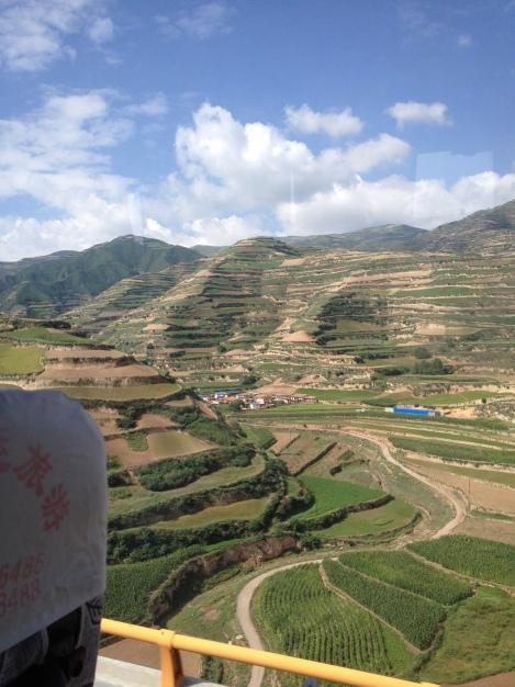 terraced mountains of China. Gansu